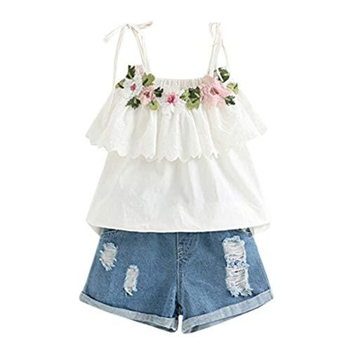 LSAltd Mode Kleinkind Kinder Baby Mädchen Sommer Blumenstickerei Rüschen Sling T-Shirt + Denim Shorts Outfits Set -