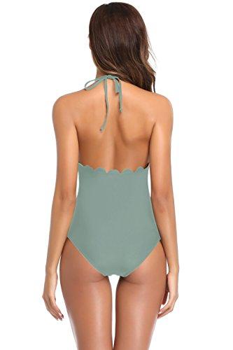 SHEKINI Damen Neckholder Gepolsterter Einteilige Badeanzügen Badeanzüge Badeanzug Monokini Spitze Bikini Bademode Grüngrauen