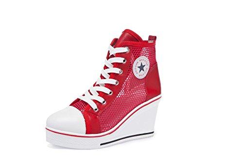 Damenschuhe Atmungsaktives Mesh/PU Frühling/Herbst-Komfort-Turnschuhe Chunky Heel Booties/Stiefeletten Damen-hohe beiläufige beiläufige Segeltuch-Schuhe große Größe 35-43 (Farbe : Rot, Größe : 43) (Chunky Damen Booties Heel)