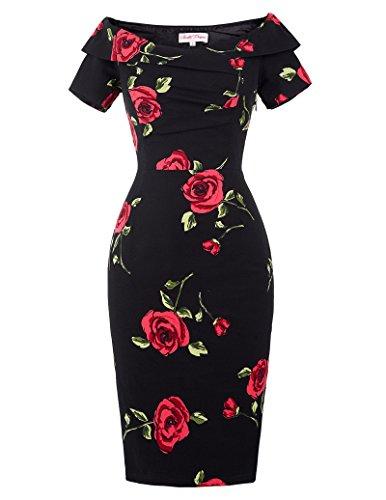 Belle Poque Robe Femme Ete Floral Mi Longue Robe Casual Femme Taile 46 BP117-1
