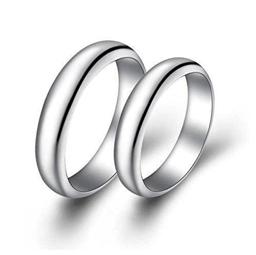 Bishiling Paarepreis Silberring für Damen Herren Hochglanzpoliert Rund Breite 4MM Verlobungsring Silber Paarringe Hochzeit Demen Gr.54 (17.2)&Herren Gr.62 (Türkei Ziel Der Kostüm)