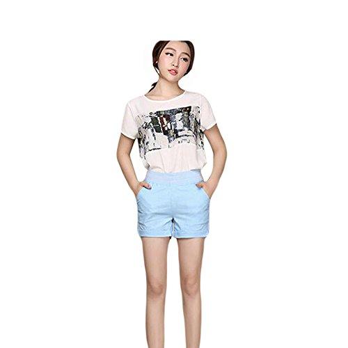 Zhuhaixmy Damen-Reizvolle Baumwolle Leinen Loose Dünne Feine Farben-Sommer-Beiläufige Shorts Hot Pants Blue
