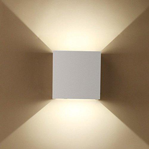Preisvergleich Produktbild ETiME 7W LED Wandleuchte außen Wandaussenleuchte mit einstellbar Abstrahlwinkel Wandlampe IP65 LED energiesparend Warmweiß (Weiß 7W)