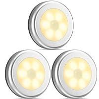 أضواء ليلية مضيئة لمستشعر الحركة، مصابيح درج إضاءة الخزانة أضواء آمنة بدون أسلاك تعمل بالبطارية للمدخل، الحمام، غرفة النوم، المطبخ (أبيض دافئ، 3 حزم)