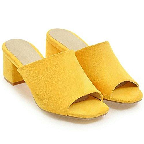 TAOFFEN Femmes Peep Toe Mules yellow