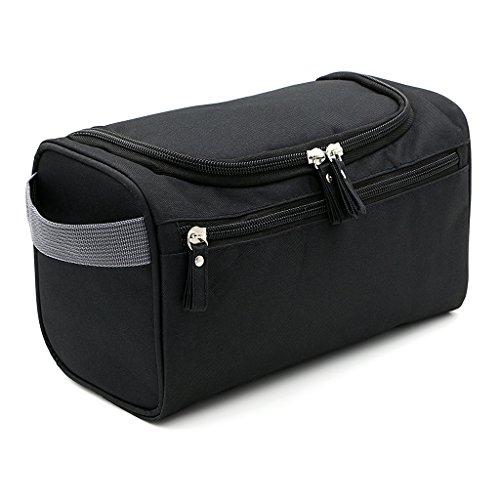 IGNPION Travel Wash Bag Hanging Men's Toiletry Bag Shaving Grooming Accessory (Black)