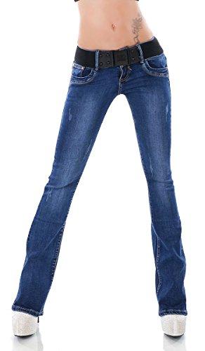 Dark Denim Flare Jeans (Label by Trendstylez Damen Bootcut Jeans Hose Stretch Marlene Vintage-Effekten Stretch-Gürtel Dark Blue J16/578-3 Größe XS)
