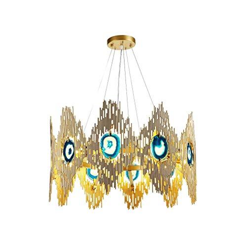 XFZ / Moderne Mode Design Pendelleuchte Metall Achat G9 8 Flammig Lampe Hängen Licht Goldene Persönlichkeit Kreative Schöne Einzigartige Pendelleuchte Ø600mm Wohnzimmer Hotel Höhenverstellbar