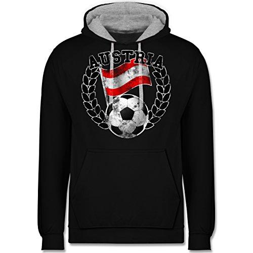 Fußball - Austria Flagge & Fußball Vintage - Kontrast Hoodie Schwarz/Grau Meliert