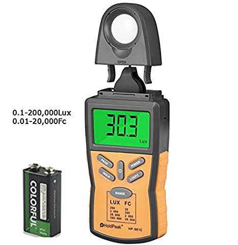 Holdpeak 881C Lux Light Meter with Peak Hold, Lux/FC Unit, Data Hold and Backlight Range Up to 200,000Lux - The Most High Accurate Digital Illuminance/Light Meter available! (CE,ISO,ROHS,GMC)