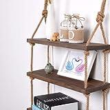 Rustikales Massivholz-Wandregal zur Aufbewahrung, schwebendes Wandregal, Vintage-Holz Seil-Regal, holz, dunkel, 2 Shelves