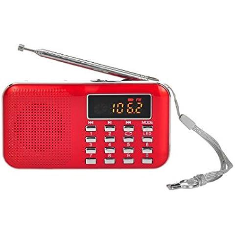 Tarjeta Timorn Radio Portátil Digital reproductor de música MP3 altavoz de medios de la ayuda TF / disco USB con pantalla LED de visualización y la función de la linterna de emergencia (Y896)(rojo)