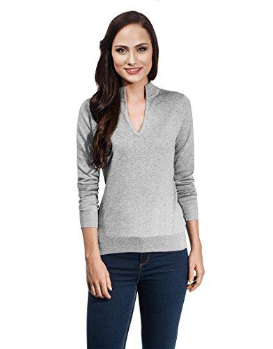 VB-Maglione da donna con scollo a V e Colletto Grey Medium