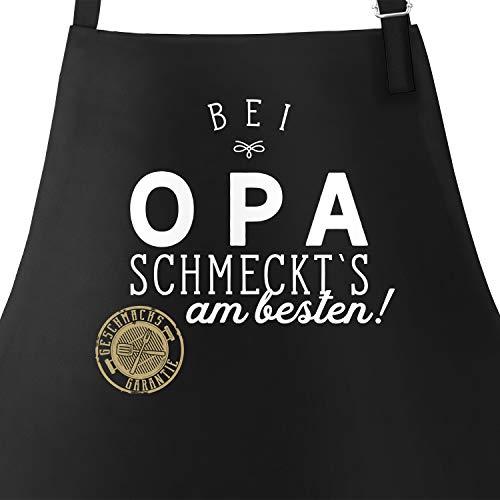 MoonWorks Grill-Schürze Küchenschürze mit Spruch Bei Opa schmeckt`s am besten Grillen Kochen Baumwoll-Schürze Küchenschürze schwarz Unisize