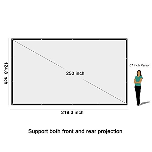 Top NIERBO 250″ HD Projector Projection Screen 16:9 560*318 cm Outdoor/Indoor Fabric Matte White Movie Screen Online