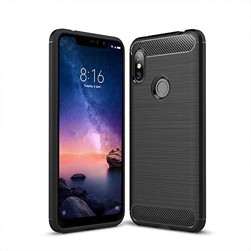 Anjoo Compatible para Funda Xiaomi Redmi Note 6 Pro, Carcasa Redmi Note 6 Pro Carbon Fibre Texture Suave y Flexible TPU Silicona Cases Parachoques Protectora para Redmi Note 6 Pro,Negro