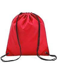 weimay Fashion Sport bolsillos Mochila Gym Saco Turn Bolsa Bolsa Bolsa de deporte, Hipster normal barniz Bolsa para zapatos con cordón bolsa para viajes/deportes/Escuela, rojo