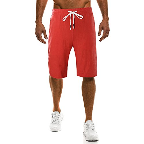 UJUNAOR Männer Caprihose Arbeitshose Cargohose Sommer Strand Kurze Hosen Trainieren Pants Sporthose Fitness Laufhose Elastisch Bund Sport Shorts(Rot,CN 4XL)