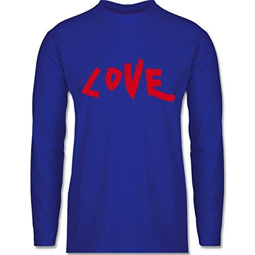 Shirtracer Romantisch - Love - Herren Langarmshirt Royalblau