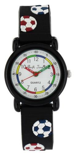 Pacific Time Kinder-ArmbanduhrLernuhr Fussball Jungen analog Quarz schwarz 820135