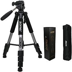 ZOMEI®Q111 Trépied professionnel pour appareil photo et camera avec un sac de transport. Compatible Canon, Nikon et Sony(Argent-gris)