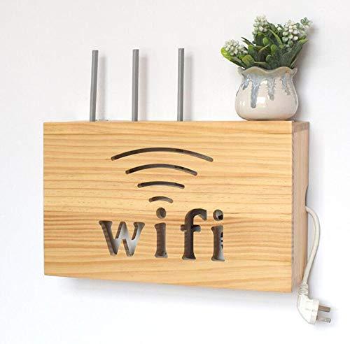 FEN HOME Wireless Router Aufbewahrungsbox Wandmontiertes Holz-WLAN-Rack TV-Tischablage Desktop-Ablagefach (Farbe : B)