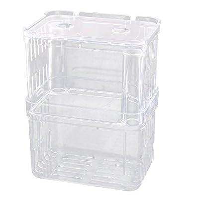 DealMux Plastic Aquarium Suction Cup Divider Fish Spawn Hatchery Breeder Case Box Clear 1