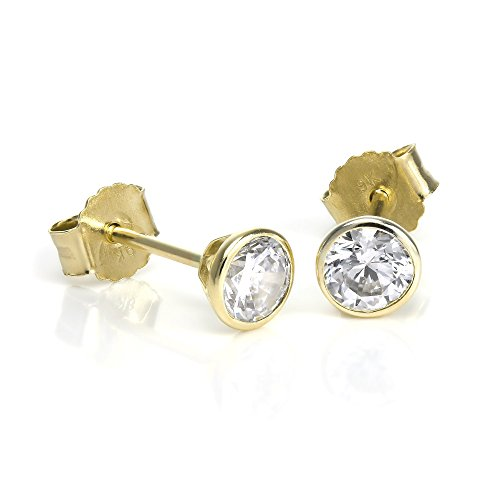 Orecchini a bottoncino in oro giallo 9kt e pietre rotonde Cubic Zirconia CZ da 4mm / Chiusura a
