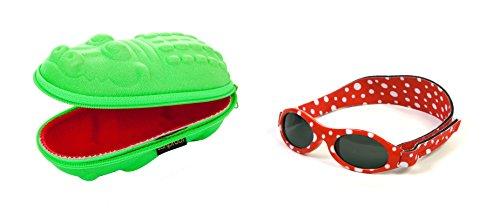 Baby Geschenkpackung grünes Krokodil-Brillenetui und Punkte Rote Babybanz Sonnenbrille 0-2 Jahre.