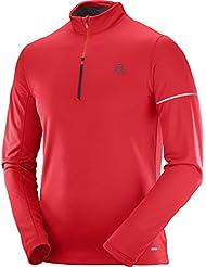 big sale 20f41 19e1b Salomon Homme Sweat de Sport, AGILE HZ MID, Mélange Synthétique, Rouge,  Taille