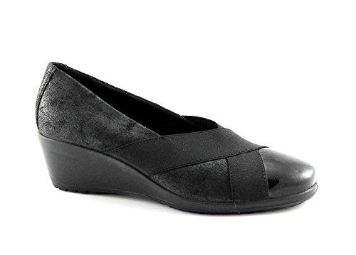 ENVAL SOFT 69530 nero ballerine donna suola gomma flessibile pelle elastico Nero