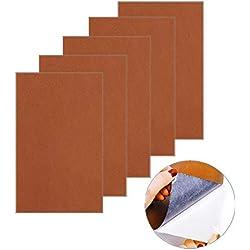Leder-Reparatur-Patch, Leder-Klebstoff-Kit Erste-Hilfe-Klebstoff für Sofas Autositze Adhesive Handtaschen Jacken, 5 Stück(Braun)