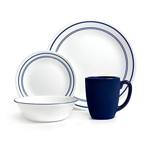 Corelle Geschirr-Set Classic Cafe aus Vitrelle-Glas für 4 Personen 16-teilig, splitter- und bruchfest, blau (Cafe Corelle Classic)