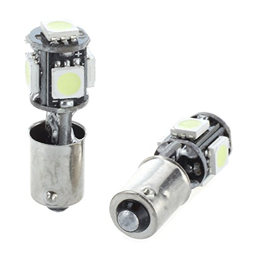 SODIAL(R) 2x AMPOULE 5 LED 5050 SMD BA9S H6W T4W VEILLEUSE BLANC ANTI SANS ERREUR ODB Lampe