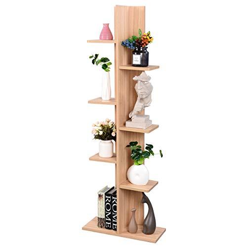 COSTWAY Standregal Holz, Aufbewahrungsregal Bad, Lagerregal Küche, Stufenregal für Pflanzen, Raumteiler Wohnzimmer, Bücherregal kinderzimmer (Hellbraun)