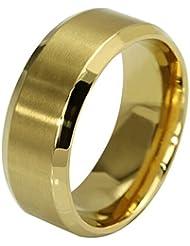 Contever® Anillo de hombre y mujer acero de Titanio Acero Pulido Ring Venda (Diámetro: 19.0 MM) Oro