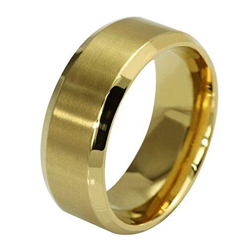 Contever® Damen / Unisex / Herren Edelstahl Herr der Ringe Trauringe Verlobungringe Durchmesser 18.2 MM (Gold) (Schnelle Kostüme Für Paare)