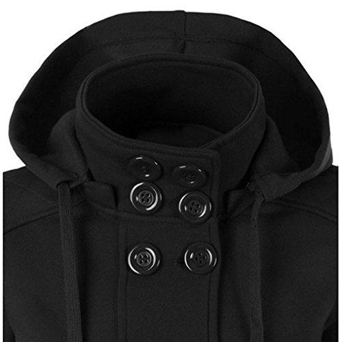 OverDose Damen warme doppelte breasted mit Kapuze lange dünne Jacken Mantel Outwear Schwarz