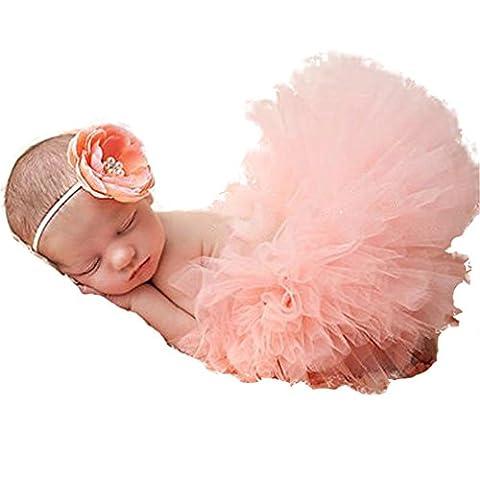 HENGSONG Costume de bébé Nouveau-né Infant Bébé TuTu Robe et Bandeau Set (Rose clair)