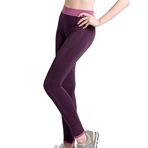 Nibesser Femme Pantalon Legging Elasticite Elevee Respirant Skinny Sechage Rapide pour Yoga Pilate Course Violet