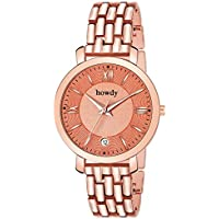 Howdy Rose Gold Stainless Steel & Date Watch for Women & Girls