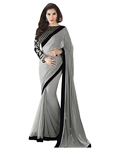 Saumya Designer Chiffon Saree (Gray, Free Size)