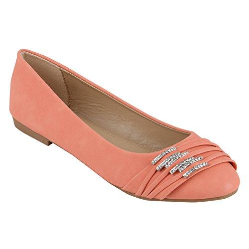 Klassische Damen Strass Ballerinas Elegante Slipper Übergrößen Metallic Glitzer Flats Schuhe 141941 Coral 42 Flandell (Frauen Flats Schuhe Coral)