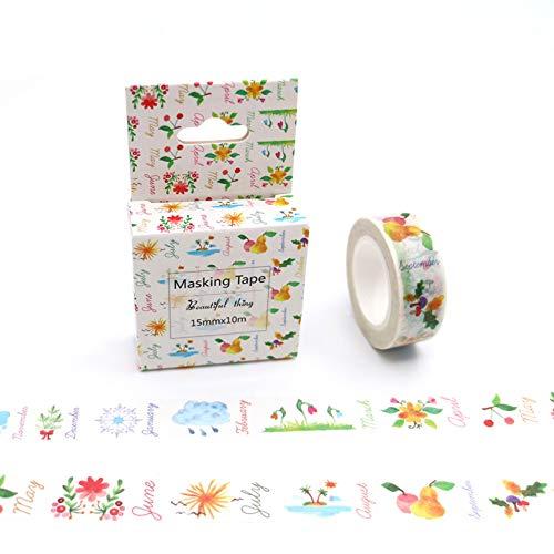 Mt Box Paket Obst Wetter Blume Gras Band Ausgezeichnete Bunte Papier Abdeckband DIY Dekorative Bänder ()