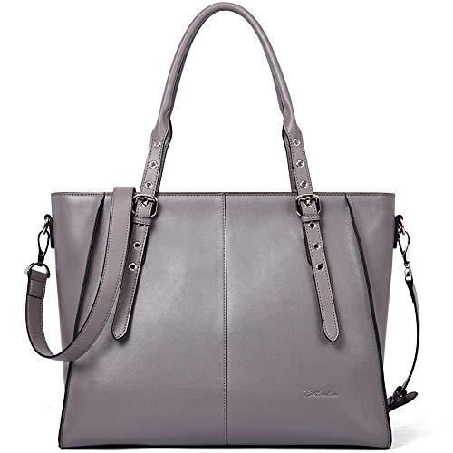 Damen-designer-laptop-tasche Tote (BOSTANTEN Damen Leder Handtasche Schultertasche Frauen Designer Cross-Body Taschen 14 15 Zoll Laptoptasche Tote Bag Grau)