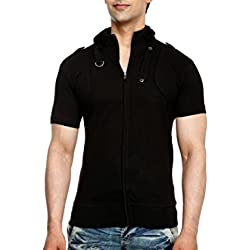 tees collection Men's Cotton Half Sleeves T-Shirt (TCBC001_Black_M)
