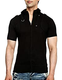 tees collection Men's Full Zip Dragon Neck Cotton T-Shirt (Black_TCBC001)