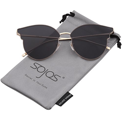 SOJOS Katzenaugen Sonnenbrille Runde Schick Groß Verspiegelt Modernem Design Cateye SJ1055S mit Gold Rahmen/Grau Linse