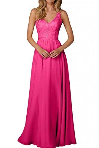 La_Marie Braut Edel Spitze Chiffon Champagner Brautjungfernkleider Abendkleider Partykleider Lang A-Linie Rock -46 Pink (Lange Champagner-rock)