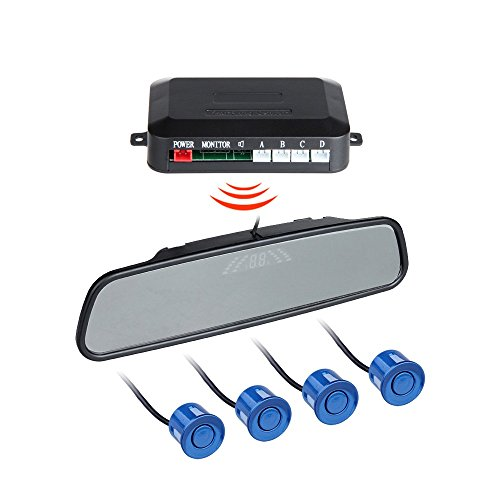 BINODA Auto Parksensoren mit 4 Sensor Auto Backup Reverse Radar Rearview Monitor Sound Alarm Set Sensor (Color : Blue) (Reverse-led-sensor Grau)